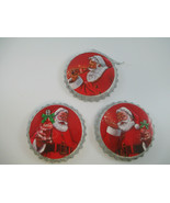 Coca-Cola Kurt Set of 3 Metal Coke Bottle Cap Santa Ornaments  - $29.70
