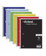"""TOPS/Oxford 1-Subject Notebooks, 8"""" x 10-1/2"""", College (1 pack (6 notebo... - $10.57"""