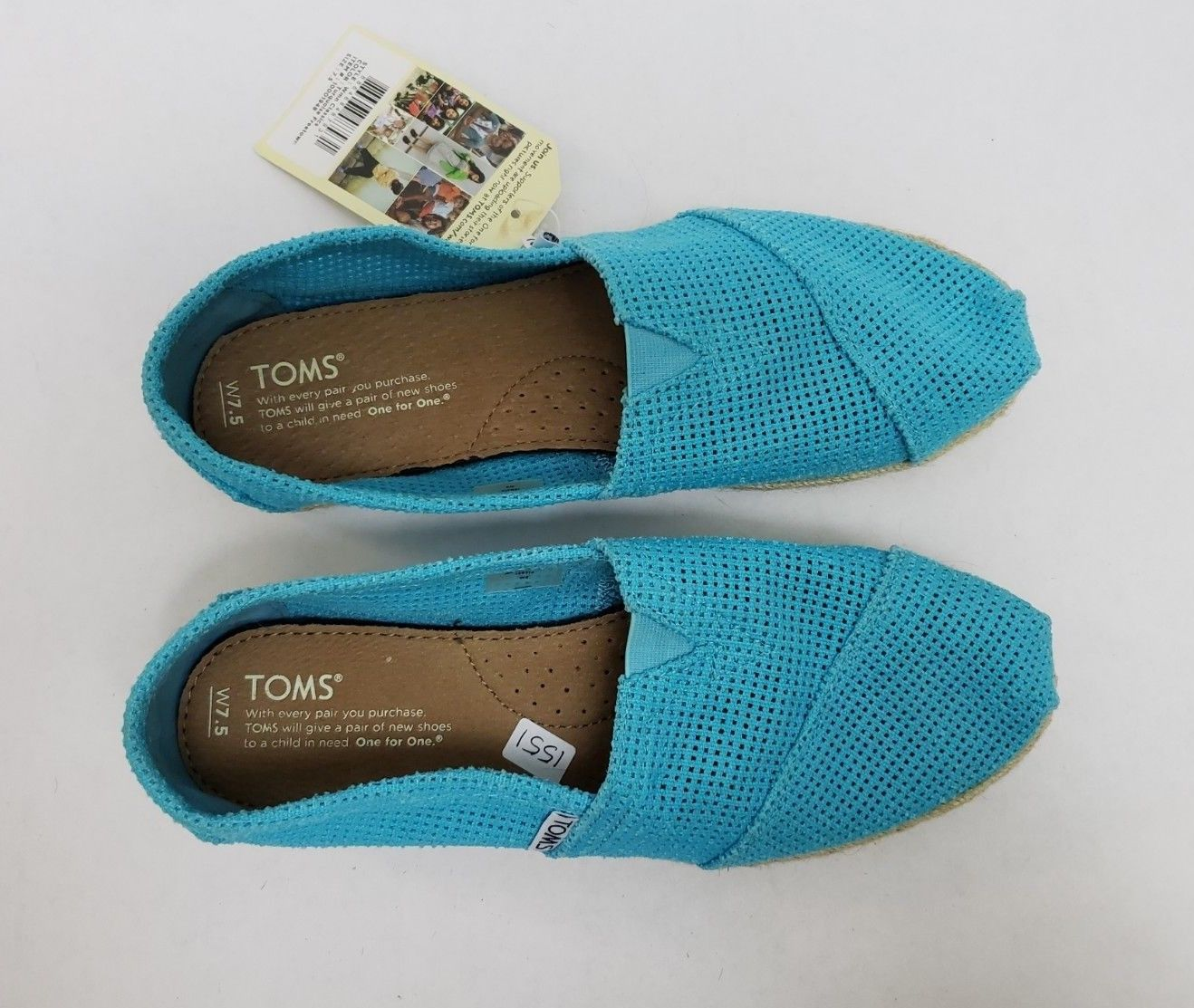 f1788a9b983 Toms Shoes Flats Turquoise Freetown Classic Slip On Womens NWT Size US 7.5