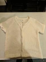 Lands End Kids Girls Wool Alpaca Cream Short Sleeve Snap  Sweater Sz L 14 - $29.69