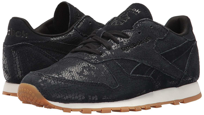 Reebok Women's CL LTHR Clean Exotic Print Track Shoe,