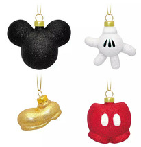 Disney Mickey Mouse Icon Glass Glitter Christmas Ornament Set of 4 New - $32.91