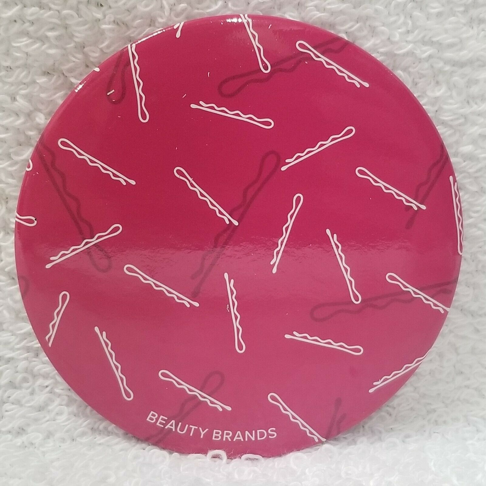 "Primary image for Beauty Brands Mirror HOT PINK Bobby Pins Purse Travel Makeup Round 2 3/4"" New"