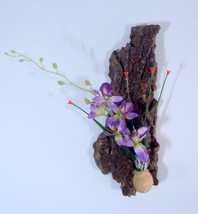 Aesthetic Bali tree bark with silk flower orchid wall hanging home decor... - $43.70
