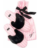 Victoria's Secret Signature Satin Slippers Pink Stripe with Faux Fur Medium 7-8 - $36.00