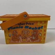 Vintage Fisher Price Fun Bear Picnic Basket 1974 No. 677 Cup Bear Basket - $14.99