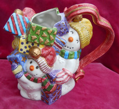 Fitz & Floyd Pitcher Water Christmas Frosty Folks Snowman Presents Winter - $45.53
