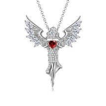 Angel Sterling Silver Heart Inlaid Inspired Pendant Engagement Wedding N... - $99.00