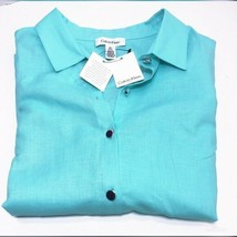 Calvin Klein Womens Aqua Blue Top Sleeveless Button Down Sz M NWT - $27.71