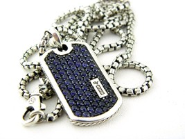 "David Yurman Pavé Tag Pendant with Blue Sapphires Necklace 26""inch - $960.30"