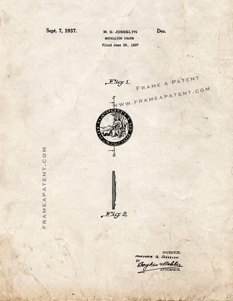 Primary image for Medallion Charm Patent Print - Old Look