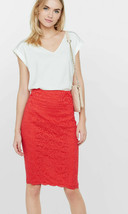EXPRESS Bright Red High Waisted Lace Midi Pencil Skirt Cotton/Nylon Size 12, NWT - $69.90