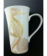 "222 5th ""Coastal Life"" Lg Mug Seahorse & Shells Coffee Cup Nautical Beach - $12.86"