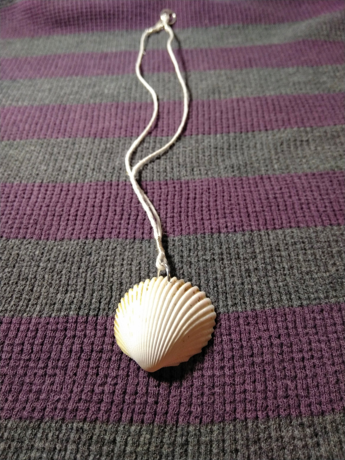 Mermaid Seashell Necklace with Sparkling Lavender Charm and Hemp Cord