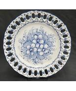Jay Willfred Plate Platter w Pierced Border Andrea by Sadek Portugal Blu... - $14.10