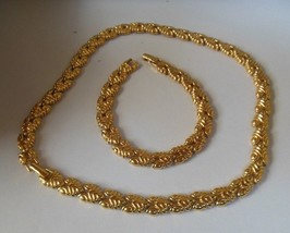 Vintage Monet Gold-tone V-Link Necklace & Bracelet Set - $36.62