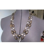 Gorgeous Talbots 2 Strands Smoky, Crystal, Pearls Beads Necklace New - $69.49
