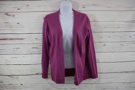 Talbots Petites Cotton/Cashmere Cardigan Purple Sweater Long Sleeve Silk Trim P - $14.01