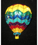 Hot Air Balloon Pin Gold Tone Crystal Accents by Basket New Bright Colors - $12.60