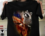 Raccoon Eagle American Flag Tshirt Women Black M - 3XL