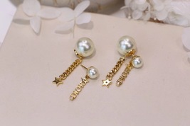 AUTH CHRISTIAN DIOR 2020 J'ADIOR DOUBLE PEARL GOLD STAR DANGLE FINISH EARRINGS image 8