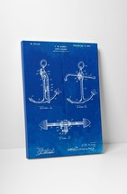 Ship Anchor Blue Patent Print Gallery Wrapped Canvas Print. BONUS WALL DECAL! - $44.50+