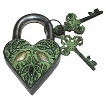 Heart-Shape Love Bird Padlock with 2 Skeleton Keys Fully Functional with... - $35.88