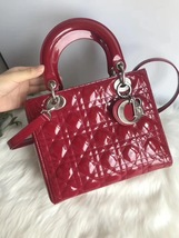 AUTH Christian Dior Lady Dior Large Red Patent Leather Cannage Shoulder Tote Bag image 2