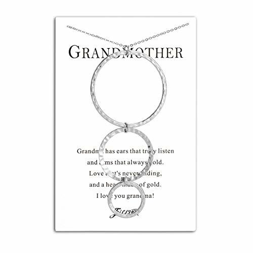 Filluck Grandmother Necklace Gift, Round Grandma Necklaces with Card