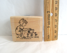 Stampin Up Wood Mount Rubber Stamps Girl Watering Flowers Friendships Gr... - $5.50