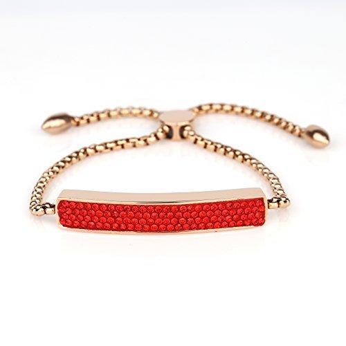UNITED ELEGANCE Rose Tone Bolo Bar Bracelet, Ruby Red Swarovski Style Crystals