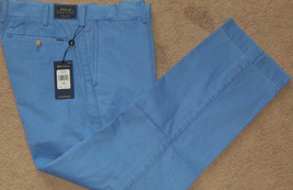 New Mens Ralph Lauren Polo Pima Cotton Classic Fit Chino Pants W34 L30 Blue $125 - $58.19