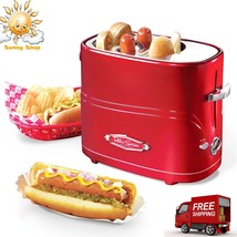 Retro HOT DOG Toaster 2 Buns Sausage Adjustable Heat Mini Tongs Nostalgi... - $93.94