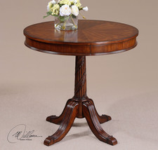 """FRENCH LIVING 32"""" ROUND WOOD VENEERS ACCENT SIDE END TABLE CARVED HARDWOOD - €415,86 EUR"""