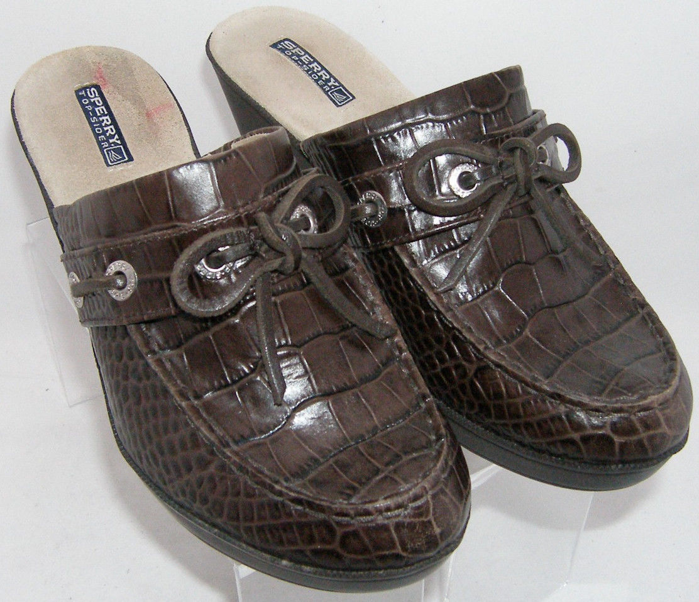 Sperry Top-Sider brown croc print leather bow slip on platform clog mules 8M