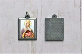 Saint Elizabeth of Hungary PEWTER Necklace Pendant - Religious Saint Sil... - $7.95