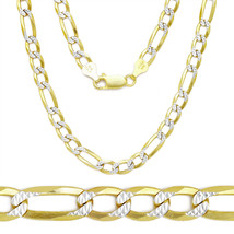 Men/Women's Stylish 14K YG Silver Diamond Cut Figaro Link Italian Chain ... - $136.07+