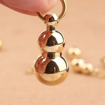 Vintage Large Brass Gourd Keychain Pendant Lucky Key Ring - $12.36