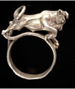 unusual Taurus ring - artisan Bull jewelry -  vintage Horoscope size 6 -... - $125.00