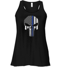 Thin Blue Line LEO Police USA Skull Flag Mens Flowy Racerback Tank - $26.95+
