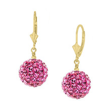 14k Yellow Gold 10mm Pink Sapphire Ball Drop Leverback Earrings - $103.45