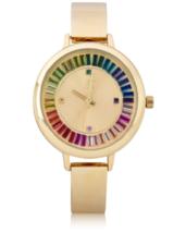 I. N.c. Femmes Ton Doré Bracelet Sunray Cristal Accents Cadran 36mm Montre