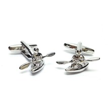 silver canoe, kayak, boat,  design Cufflinks in gift box cuff links