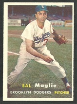 Brooklyn Dodgers Sal Maglie 1957 Topps Baseball Card 5 em/nm - $19.95