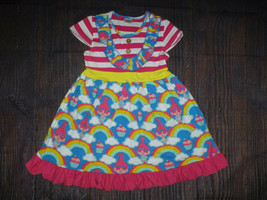 NEW Boutique Trolls Poppy Rainbow Girls Blue Ruffle Dress Size 7-8 - $19.99