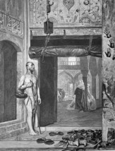 MENDICANT Beggar at Mosque Entrance by Gerome - 1876 Engraving Print - $16.20