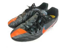 Nike JR T90 Shooy IV FG #472567 084 Size 6Y Soccer Cleats Black/Orange/Blue - $11.30