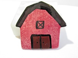 PIN VINTAGE ARTISAN HAND CRAFTED PORCELAIN COLORFUL RED BLACK BARN COUNTRY - $32.00