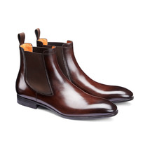 Handmade Men's Brown Leather High Ankle Chelsea Style Leather Boot image 1