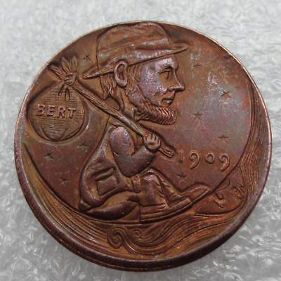 Primary image for Hobo Nickel 1909 Wheat Penny Lincoln in Hat Bert Bindle Hand Carved